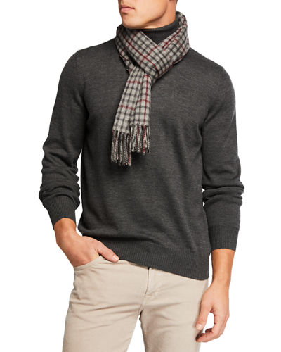 Men's Cashmere Small-Check Scarf