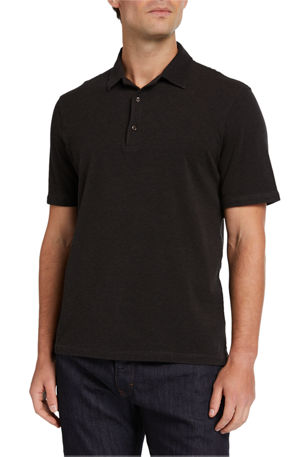 Isaia Men's Short Sleeve Washed Pique Polo Shirt