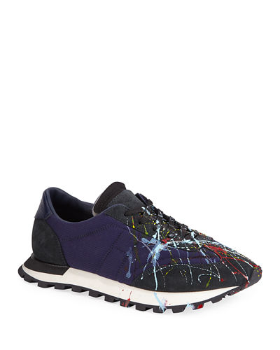 Maison Margiela Men's Paint Replica Lace-Up Trainer Sneakers