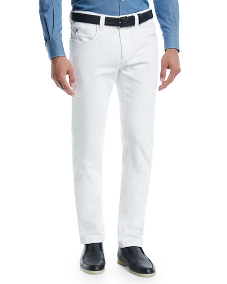 Image 1 of 3: Loro Piana Men's Tasche 5-Pocket Slim-Fit Denim Jeans