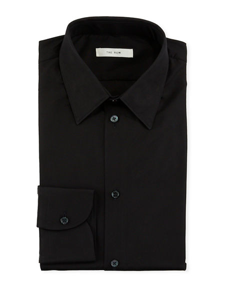 THE ROW Men's Jasper Solid Cotton Dress Shirt