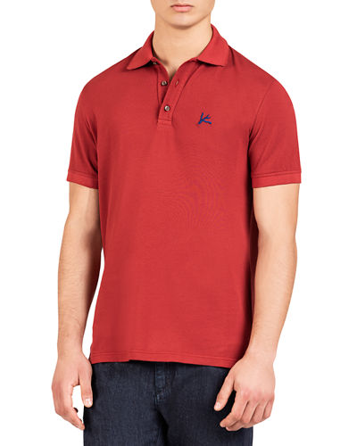 Men's Cotton Polo Shirt with Coral Accent
