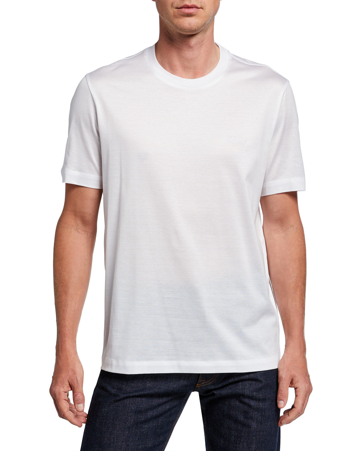 Brioni T-shirts MEN'S SOLID COTTON T-SHIRT