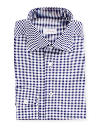 Men's Gingham Check Long-Sleeve Dress Shirt