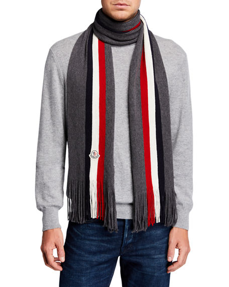 Moncler Men's Tricolor Logo-Patch Wool Scarf