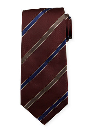 Isaia Men's Diagonal Stripe Silk Tie