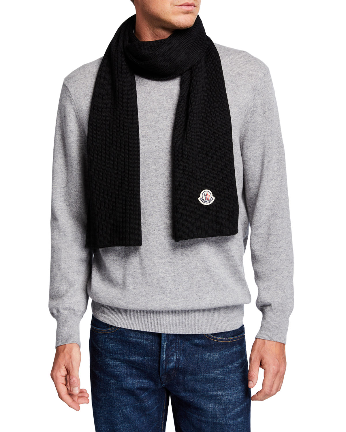 Moncler Accessories MEN'S WOOL LOGO-PATCH SCARF