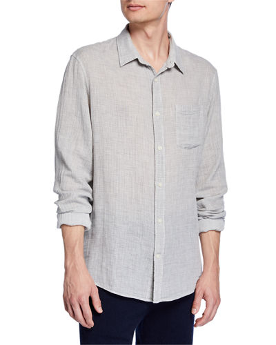 Men's Solid Double-Face Cotton Sport Shirt
