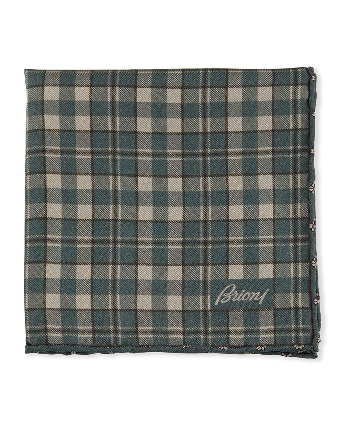 Brioni Accessories REVERSIBLE PLAID/SMALL-FLOWER POCKET SQUARE