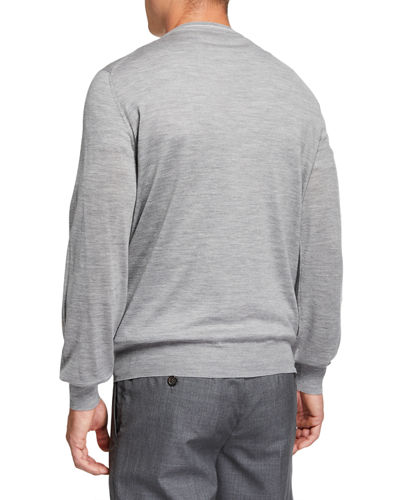 Brunello Cucinelli Men's Cashmere Striped-Trim Sweater