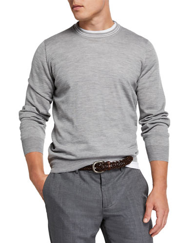 Men's Cashmere Striped-Trim Sweater