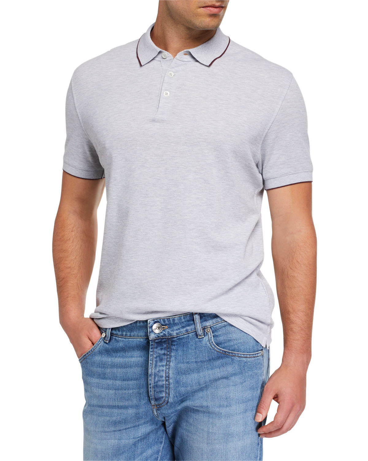 Brunello Cucinelli T-shirts MEN'S CONTRAST-TIPPED POLO SHIRT