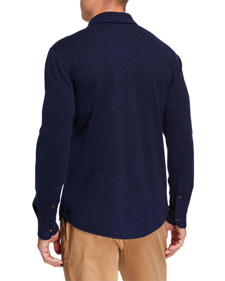 Image 2 of 2: Brunello Cucinelli Men's Western-Style Shirt Cardigan