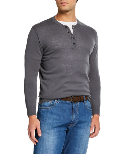 Men's Cashmere Long-Sleeve Henley Shirt