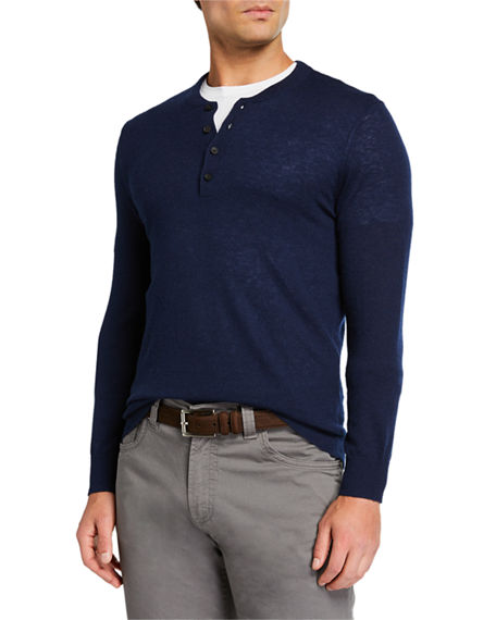 Neiman Marcus Men's Cashmere Long-Sleeve Henley Shirt