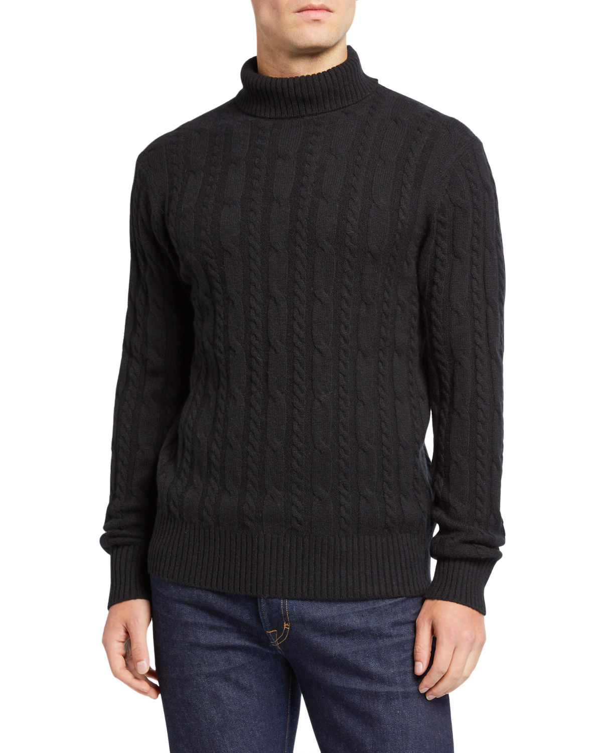 Neiman Marcus Knits MEN'S CABLE-KNIT TURTLENECK SWEATER
