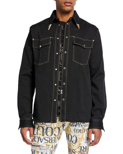 Versace Jeans Couture Men's Bull Stretch Denim Western Shirt