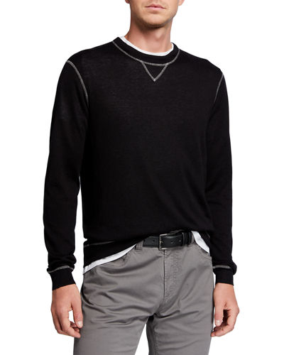 Men's Cashmere-Silk Sweater with Contrast Stitching