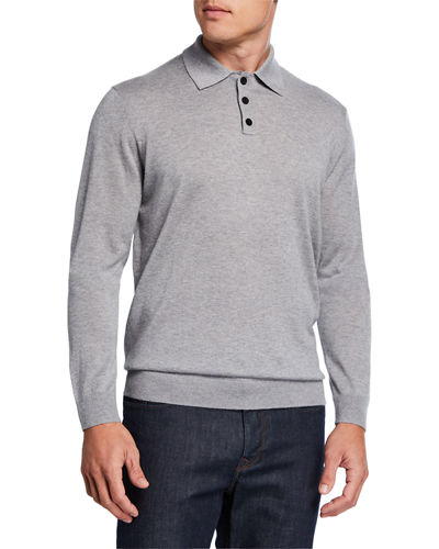 Men's Cashmere/Silk Long-Sleeve Polo Sweater