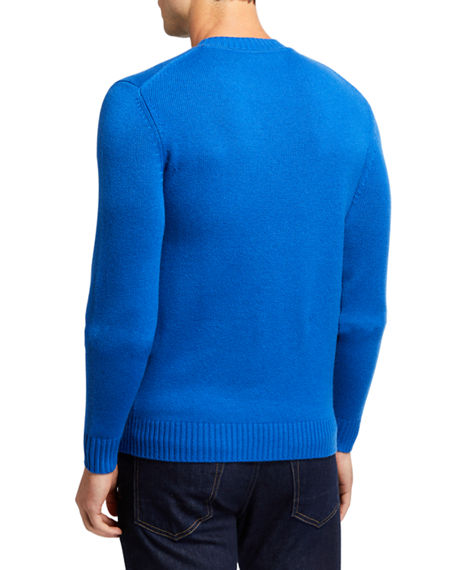 Image 2 of 2: Neiman Marcus Men's Cashmere Ribbed Crewneck Sweater