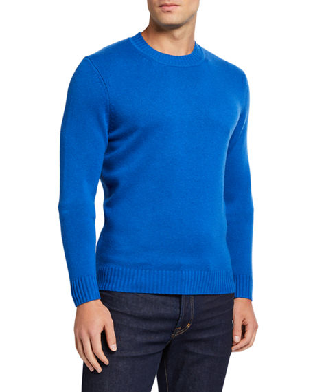Image 1 of 2: Neiman Marcus Men's Cashmere Ribbed Crewneck Sweater
