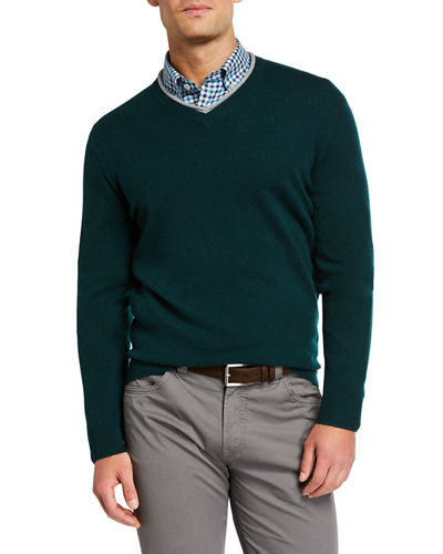 Men's Cashmere Sweater with Contrast V-Neck
