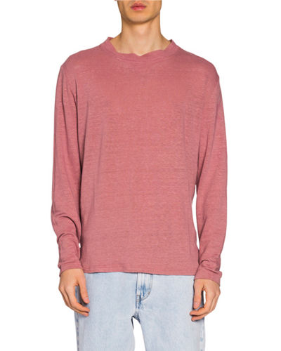 Men's Slub Linen Long-Sleeve T-Shirt