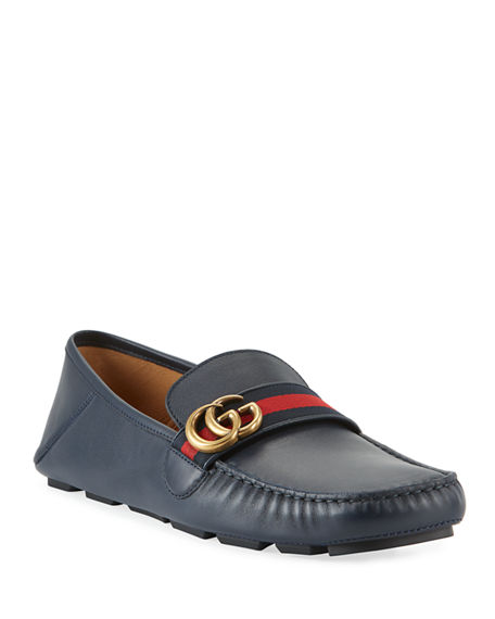 eb41f53bf Gucci Men's Noel Leather Drivers with GG Web Strap | Neiman Marcus