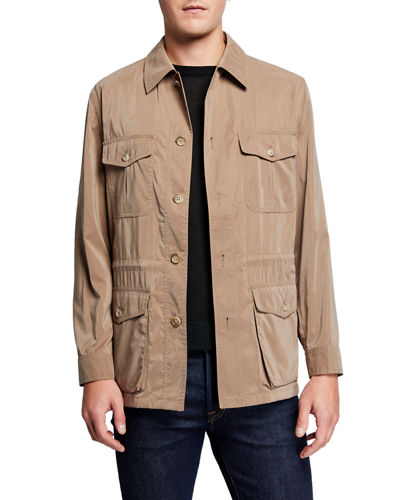 Neiman Marcus Men's Belseta Button-Front Field Jacket