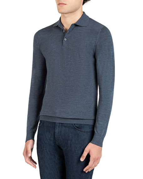 Image 1 of 2: Isaia Men's Wool Long-Sleeve Polo Shirt