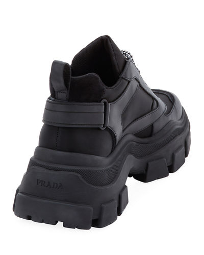 Prada Men's Pegasus Nylon & Leather Chunky Sneakers