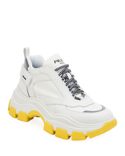 Men's Pegasus Nylon & Leather Chunky Sneakers