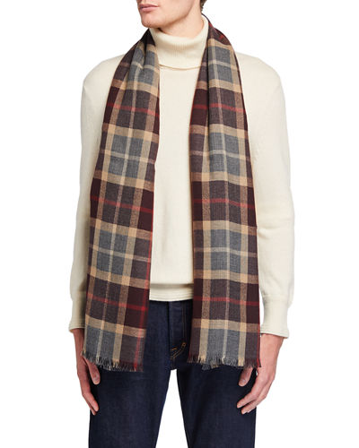 Men's Baily Plaid Cashmere Scarf