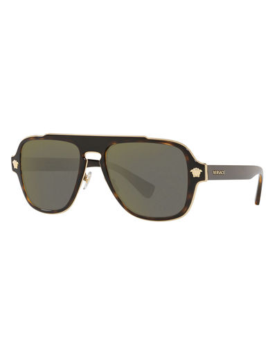 Men's Medusa Charm Square Aviator Sunglasses