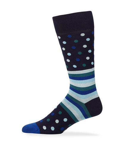 Men's Polka Stripe Knit Socks