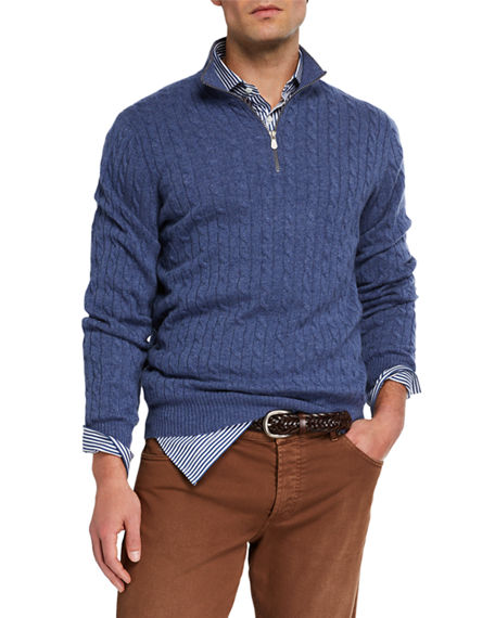 Brunello Cucinelli Men's Cable-Knit Cashmere Quarter-Zip Sweater
