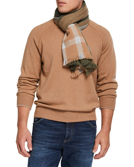 Brunello Cucinelli Men's Colorblock Cashmere Scarf