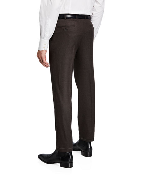 Image 2 of 3: Brioni Men's Flannel Wool Straight-Leg Pants