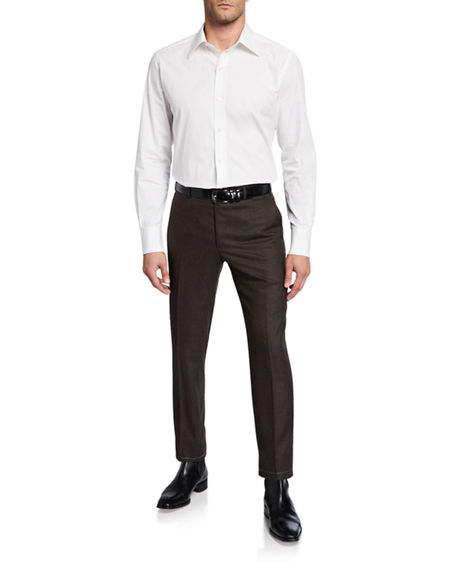 Image 3 of 3: Brioni Men's Flannel Wool Straight-Leg Pants
