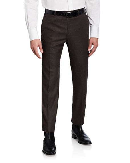 Image 1 of 3: Brioni Men's Flannel Wool Straight-Leg Pants