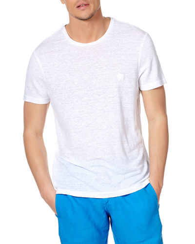 Men's Crewneck Short-Sleeve Linen Jersey T-Shirt