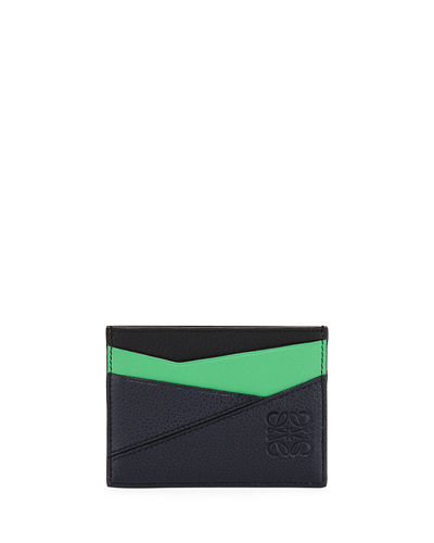 Men's Puzzle Colorblock Leather Card Holder