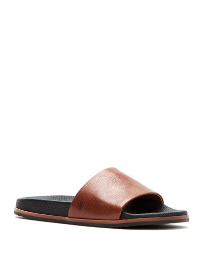 Men's Evan Memory Foam/Leather Slide Sandals