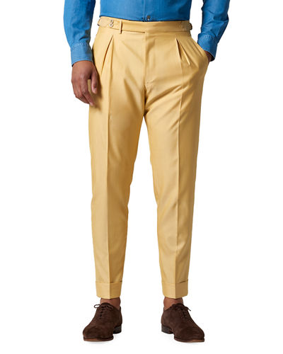Men's Nico Silk-Blend Pleated Trousers