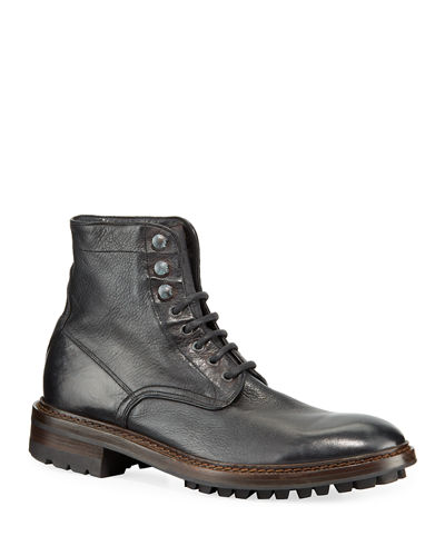 Men's Greyson Leather Moto Boots
