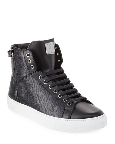 MCM Men's Visetos High-Top Sneakers