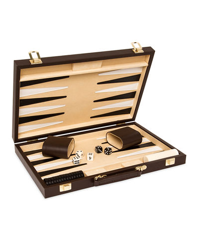 Backgammon Game Set with Vegan Leather Case