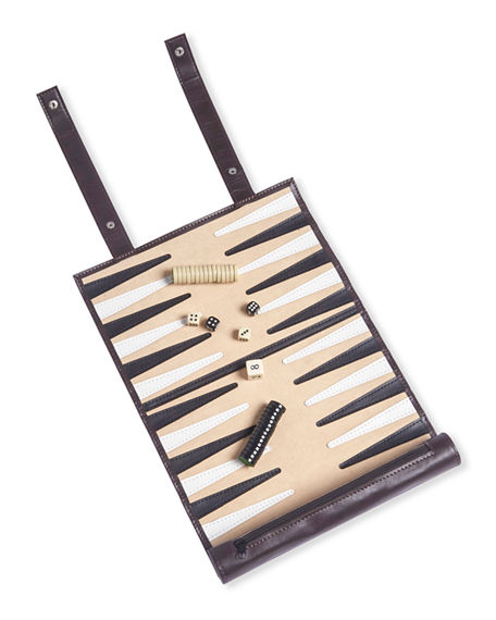 Brouk and Co Roll-Up Backgammon Travel Game Set in Vegan Leather