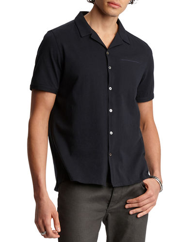 Men's Regular-Fit Short-Sleeve Camp Shirt
