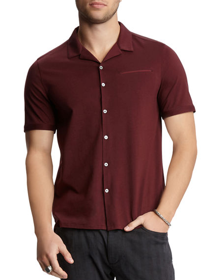 John Varvatos Men's Regular-Fit Short-Sleeve Camp Shirt